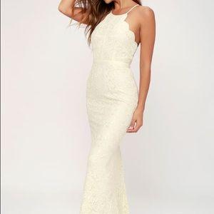 "Lulus ""Zenith"" ivory lace maxi dress"